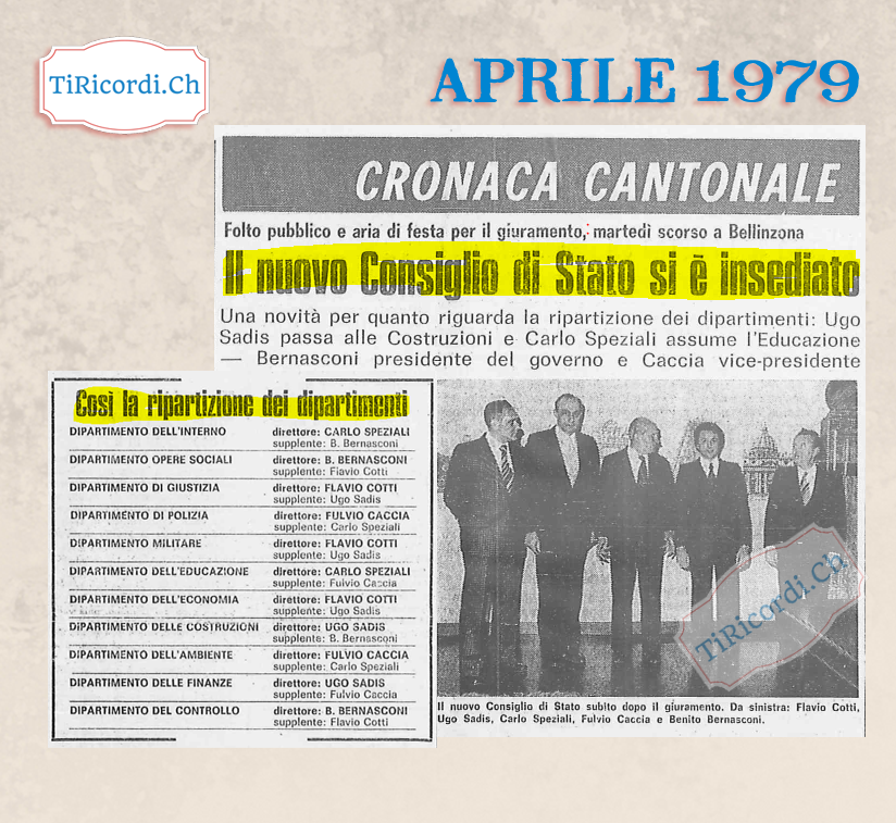 Esclusiva 12 Aprile: Il nuovo Consiglio di Stato e l'attribuzione dei dipartimenti (di #40anni fa)