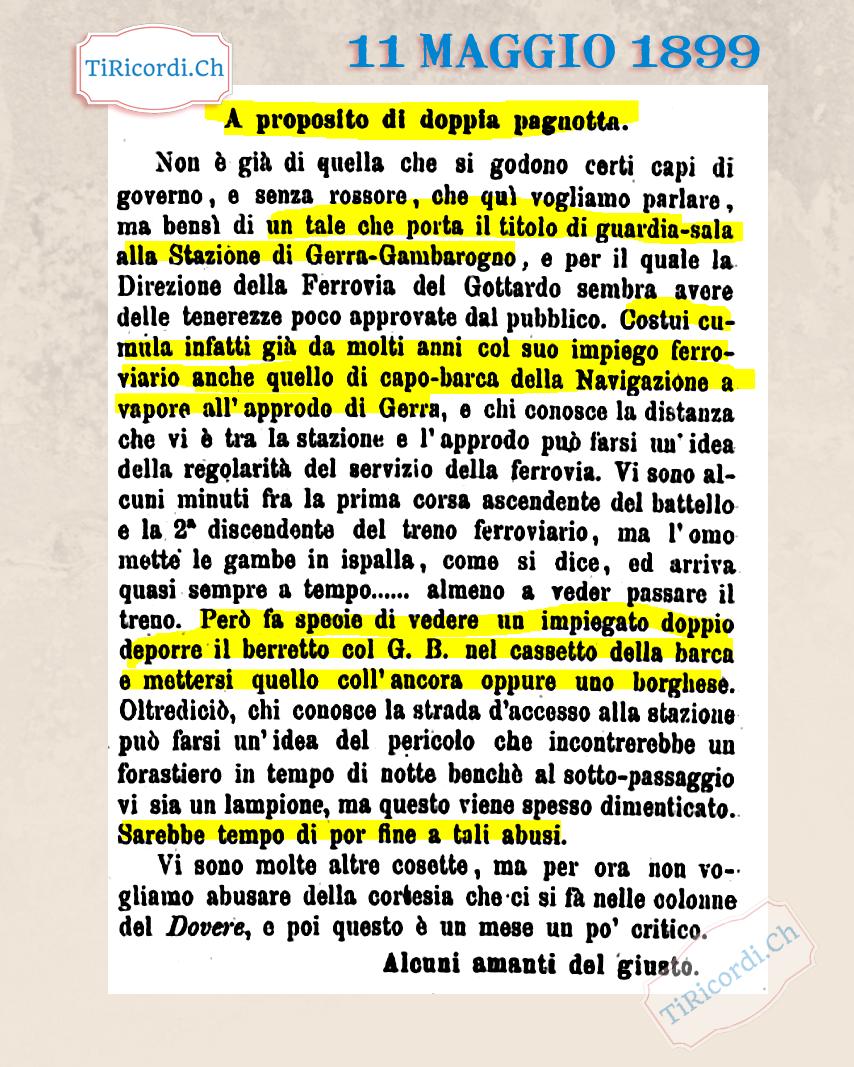 11 maggio 1889: Doppio lavoro smascherato per mezzo stampa #130anni
