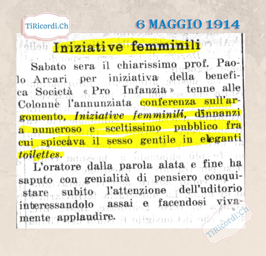 6 maggio 1914: Conferenza di #105anni fa