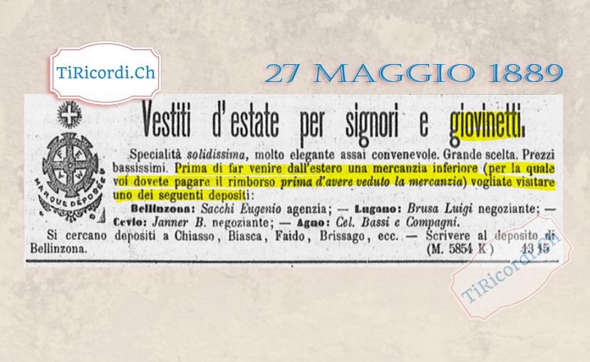 Annuncio pubblicato il 27 maggio di 130 anni fa