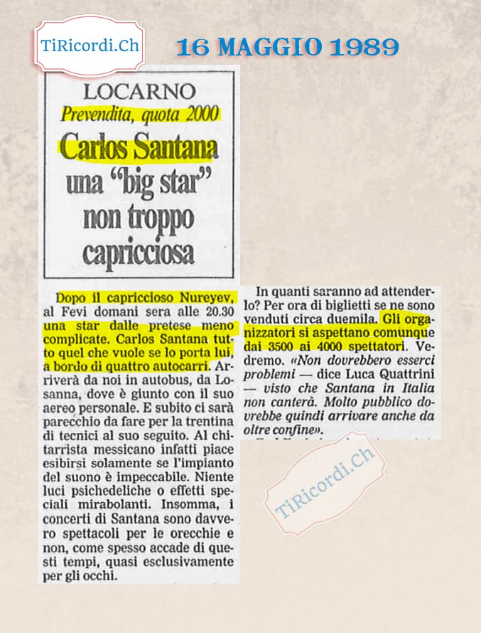Carlos Santana a Locarno #30anni fa