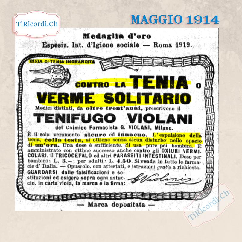 Maggio 1914: Rimedio contro la tenia ed il verme solitario #105anni