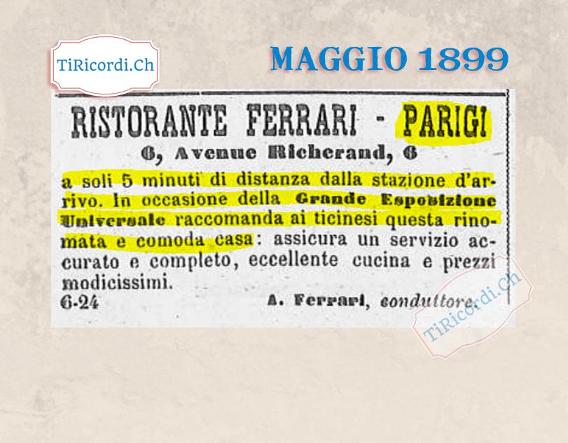 Pubblicità di un esercizio parigino sulla stampa ticinese in occasione della Grande Esposizione Universale del 1889 #Par...