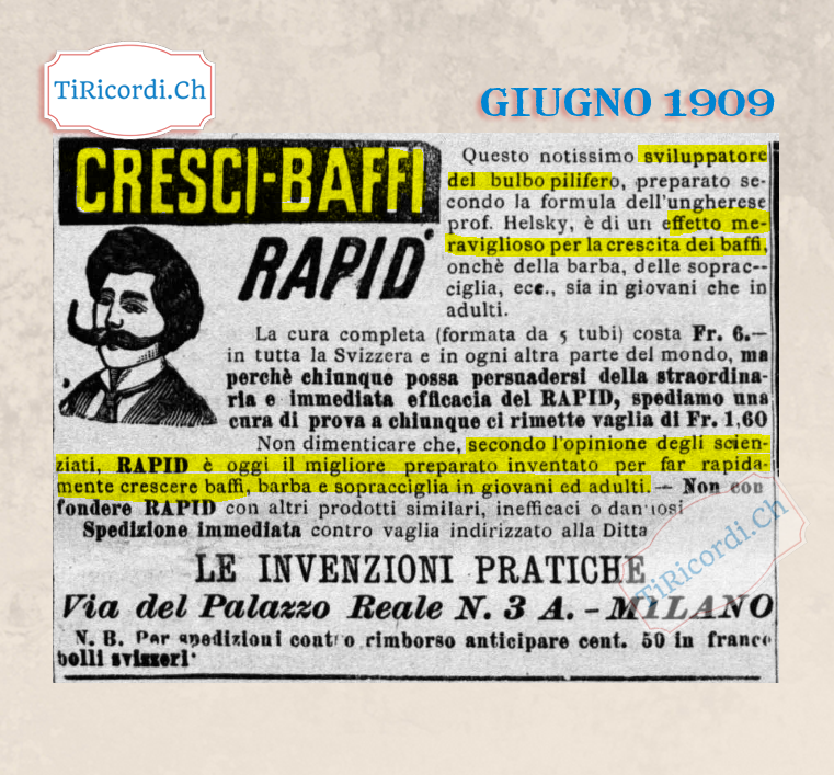 "#110anni fa miracoloso ""cresci Baffi"""