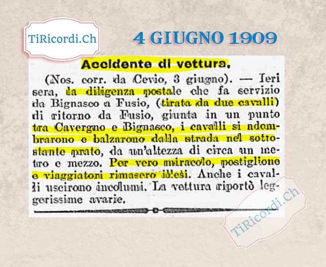 4 giugno 1909: Incidente in Valle Maggia #110anni