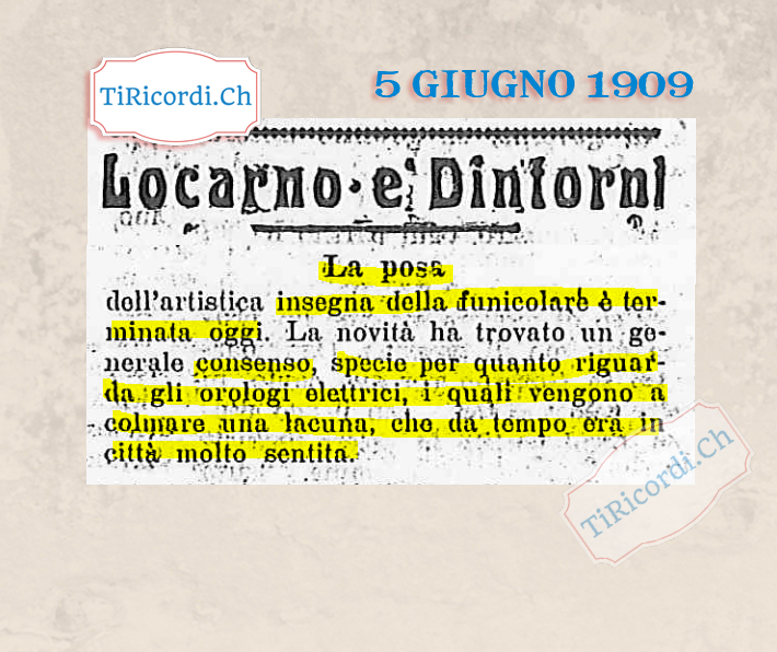 5 giugno 1929: #90anni fa veniva posata l'insegna dalla funicolare di Locarno, con una grande novità: gli orologi elettr...