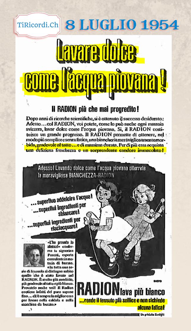 Pubblicità pubblicata l'8 luglio 1954
