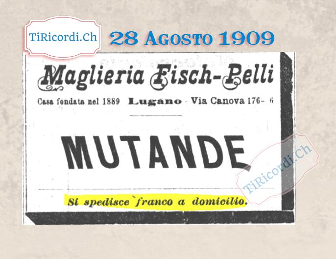 28 Agosto 1909: Ben prima di Zalando & CO #110anni