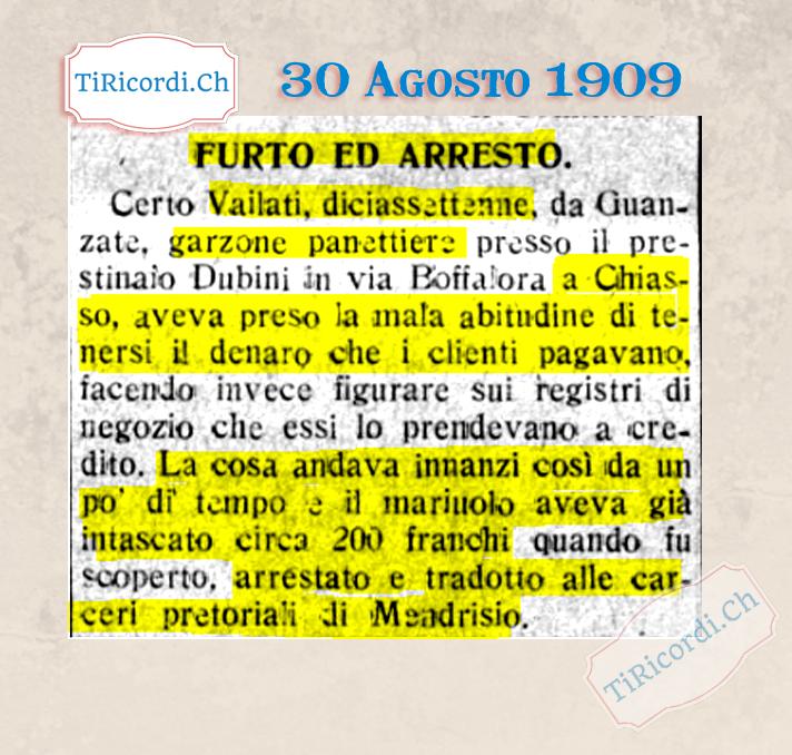 """30 Agosto 1909: panettiere """"mariuolo"""" di Mendrisio arrestato #110anni"""