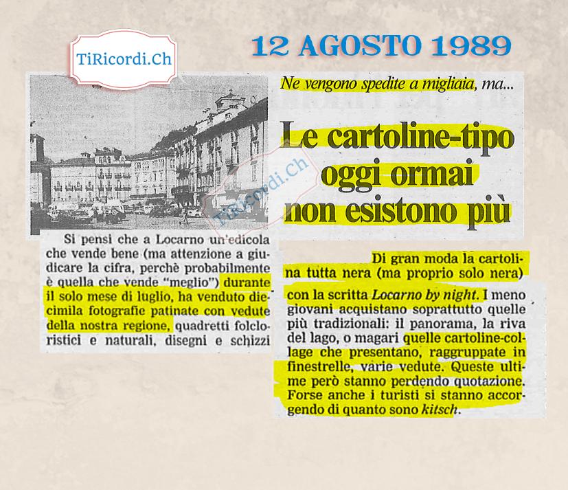 30 anni fa quando si vedevano migliaia di cartoline nelle edicole ticinesi.