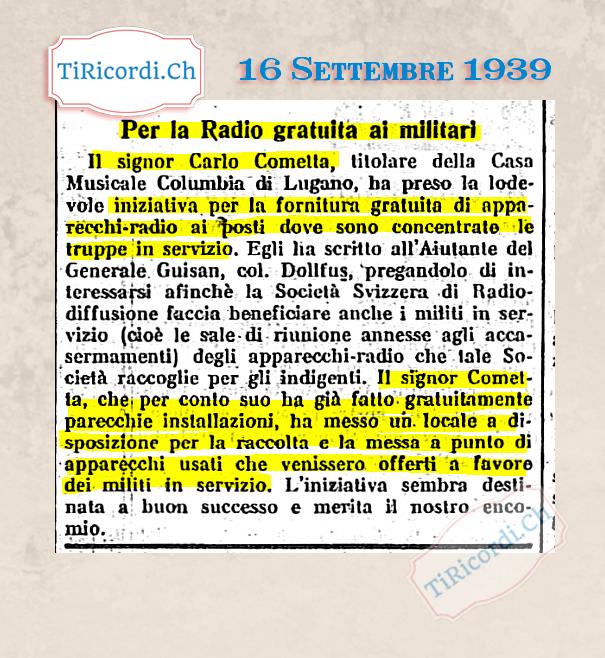 16 Settembre 1939: lodevole iniziativa locale per i militi della II GM #80anni