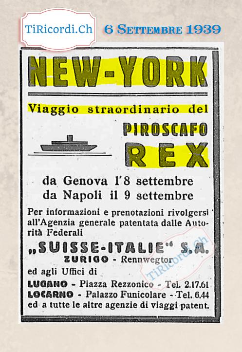 6 Settembre 1939: Annuncio dedicato agli emigranti ticinesi #80anni