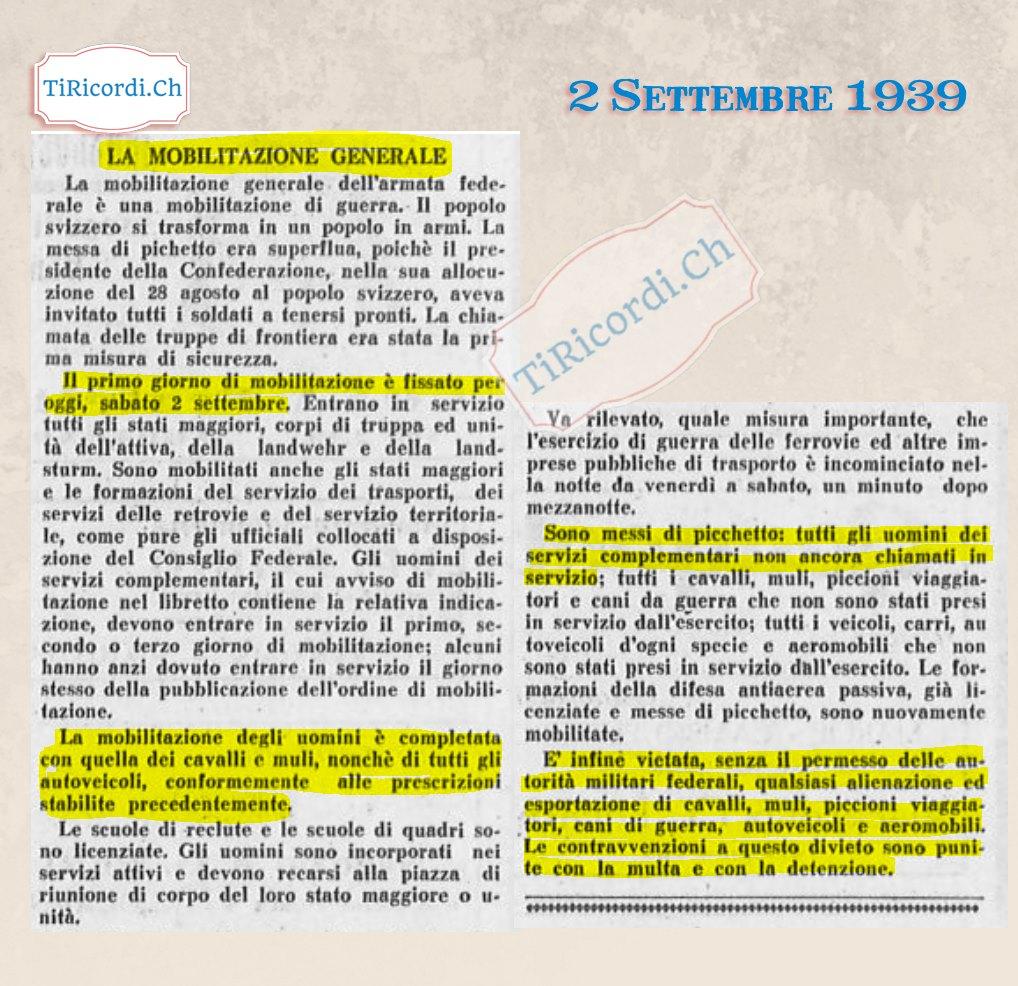 #80anni decretata la chiamata alle armi dei cittadini svizzeri.  La MOB che sconvolse anche il Canton Ticino. Di seguito...