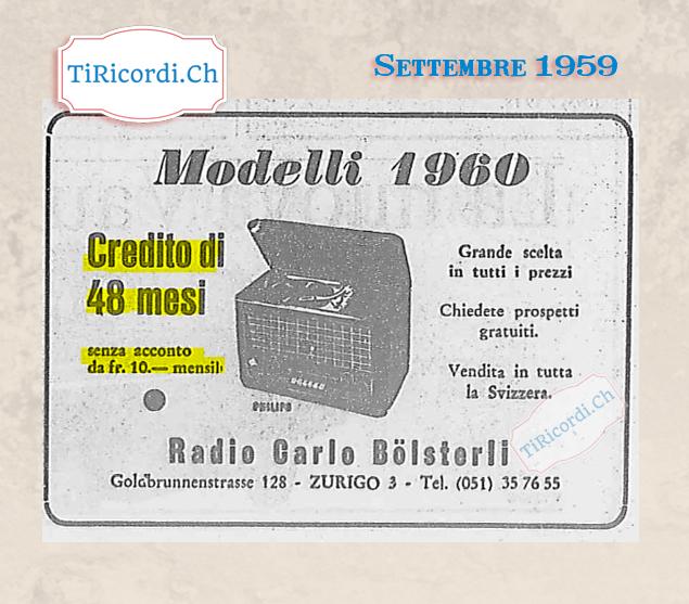 Pubblicità dei nuovi ricevitori radio fm (modello 1960) pubblicata nel settembre del 1959