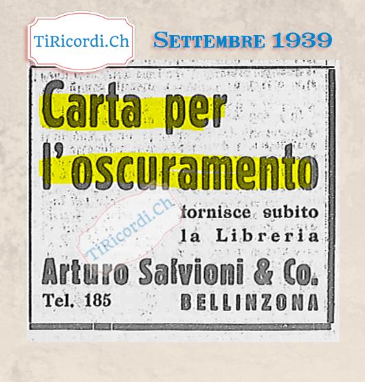 Settembre 1939: Decretato l'oscuramento sul territorio nazionale. Questo significava che non dovesse trapelare dalle abi...