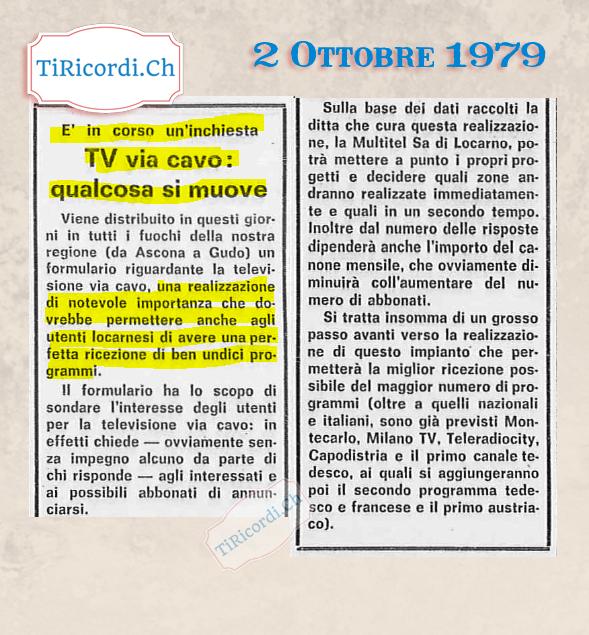 2 Ottobre 1979: si tastava il terreno per l'introduzione della via cavo che permetteva la visione di (ben) 11 canali tel...