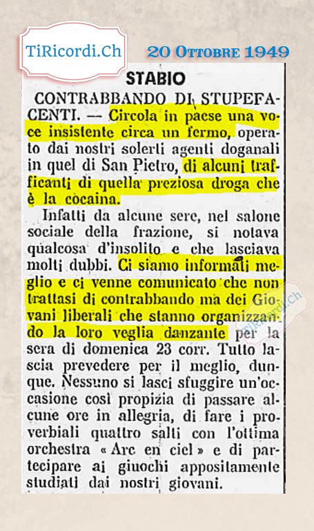 """20 Ottobre 1949: """"Contrabbando? Certo che no sono i giovani liberali!"""" #70anni"""