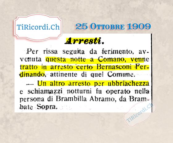 25 Ottobre 1909: Arresti a Comano #110anni