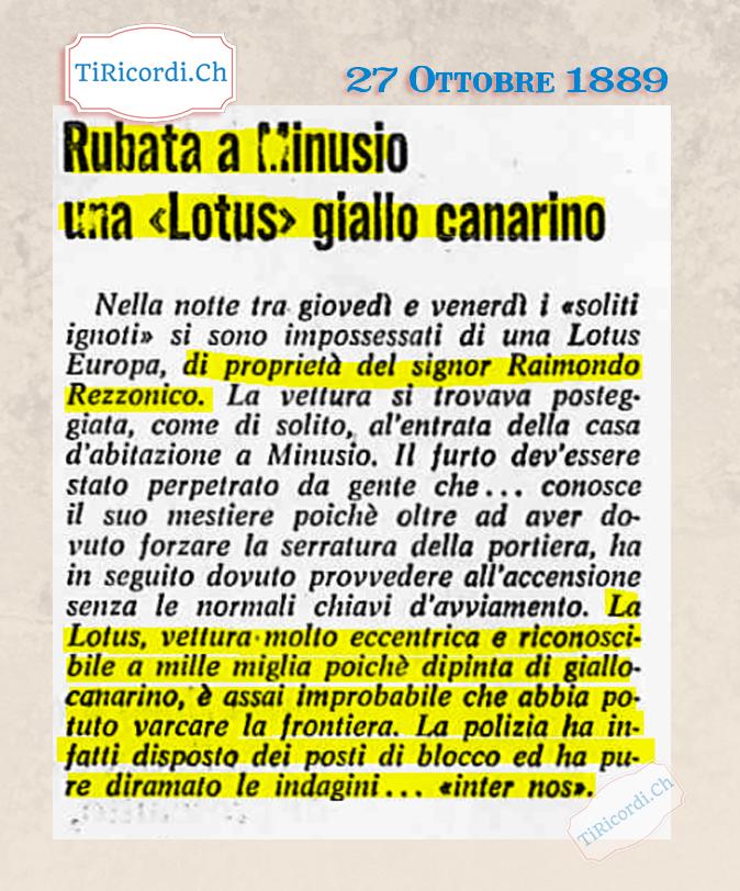 27 Ottobre 1969: L'eccentrica auto giallo canarino di Raimondo Rezzonico veniva rubata da ignoti. #50anni