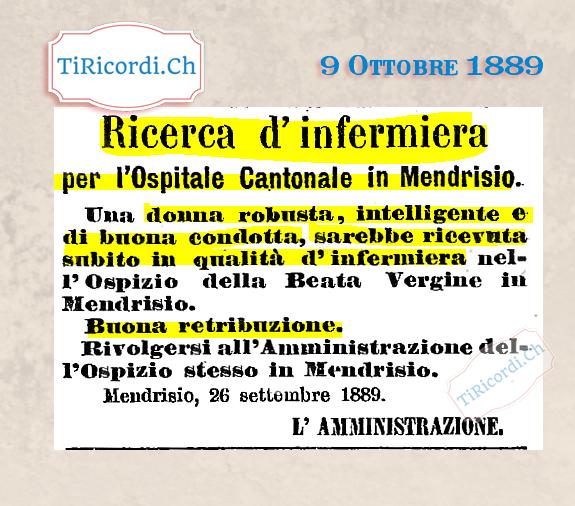 """9 Ottobre 1889: Ricerca di un' infermiera con """"solidi"""" requisiti #130anni"""