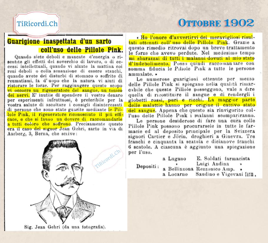Ottobre 1902: Le pillole Pink per curare ogni malanno #117