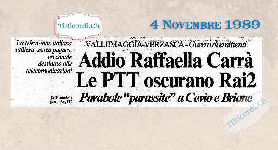 4 Novembre 1989: La Rai oscurata, il Ticino senza Rai 2 #30anni