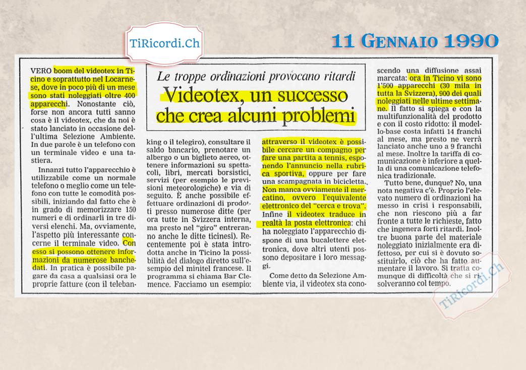 11 Gennaio 1990: Boom di vendite del Videotext, precursore di Internet #30anni