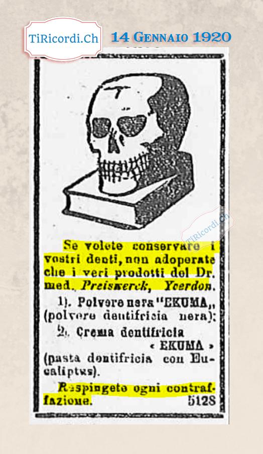 14 Gennaio 1920: pubblicità di #100anni fa
