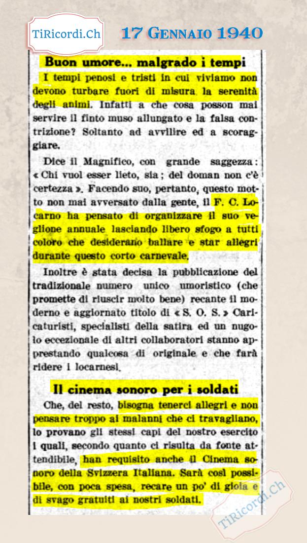 17 Gennaio 1940: la voglia di serenità nelle notizie dei quotidiani ticinesi durante la II GM #80anni