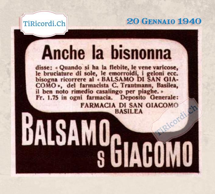 20 Gennaio 1940: Balsamo miracoloso #80anni