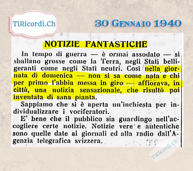 30 Gennaio 1940: Fake news di #80anni fa