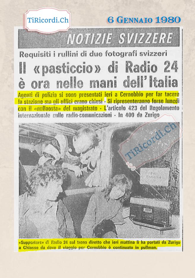 6 Gennaio 1980: I carabinieri cercano di mettere a tacere la mitica radio pirata svizzera.