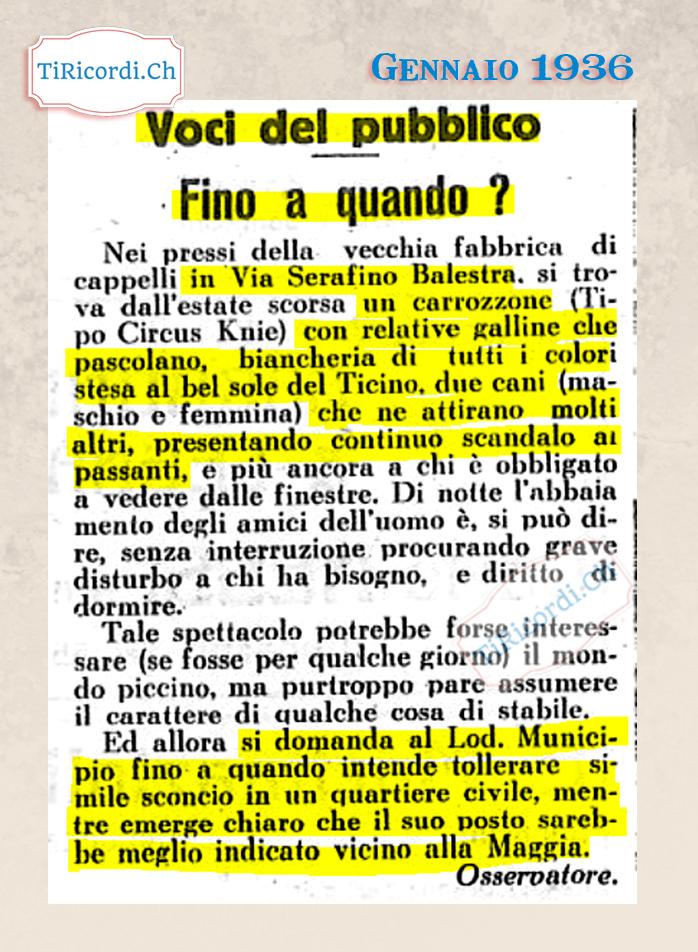 Carrozzone poco presentabile, lettera di un lettore nel gennaio 1936 #84anni