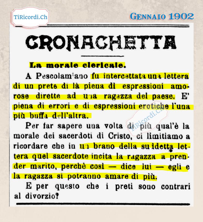 Lettere bollenti di un prete di paese nel gennaio del 1902 #118anni