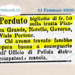 11 Febbraio 1920: Perso biglietto da 50 franchi #100anni