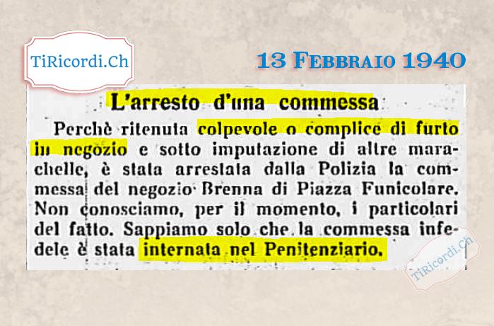 13 Febbraio 1940: Pena detentiva per furto #80anni