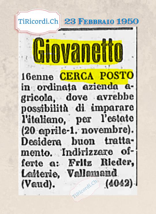23 Febbraio 195: ricerca d`impiego #70anni
