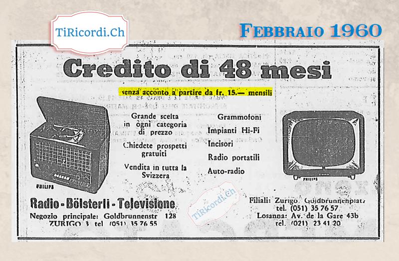 Febbraio 1960: pubblicità di #60anni fa.