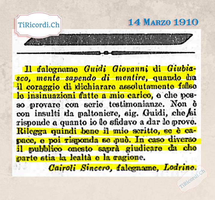 14 Marzo 1910: nomi e cognomi a mezzo stampa #110anni