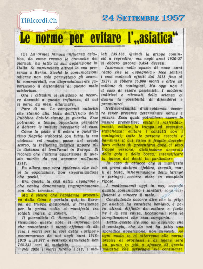 24 Settembre 1957: Indicazioni pratiche contro il contagio #63anni fa durante l'influenza asiatica.