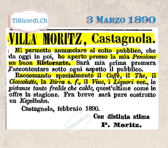 3 Marzo 1890: Nuovo ristorante a Castagnola #130anni