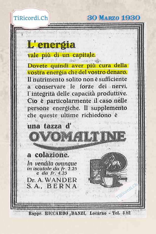 30 Marzo 1930: Pubblicità dell'Ovomaltina di #90anni fa