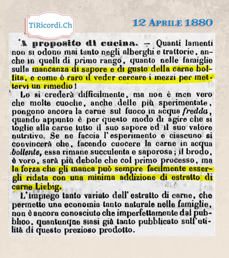 """12 Aprile 1880: Pubblicità """"nascosta"""" all'interno di un articolo dedicato alla cucina. #InserimentiCommerciali #140anni"""