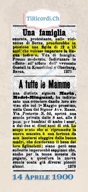 14 Aprile 1900: Annunci di #120anni fa