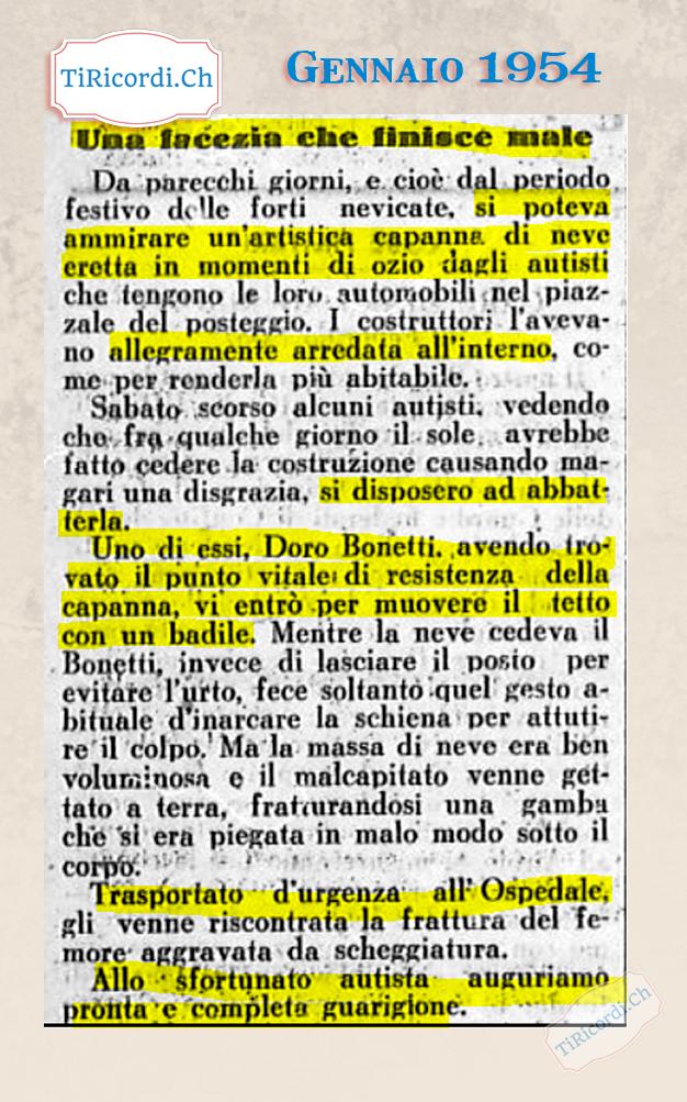 #84anni fa la storia di un audace autista che cercò di abbattere una capanna di neve nel centro di Locarno.