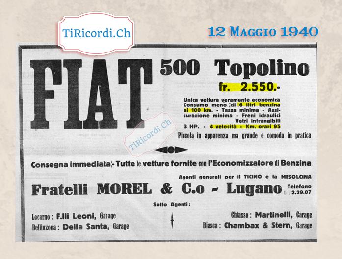 12 Maggio 1940: La Topolino della FIAT in vendita in Ticino a CHF 2550.- dell'epoca #80anni
