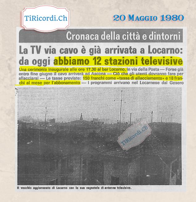 """20 Maggio 1980: 12 canali disponibili a Locarno #40anni Ricordiamocelo quando davanti a centinaia di canali diciamo """"Que..."""