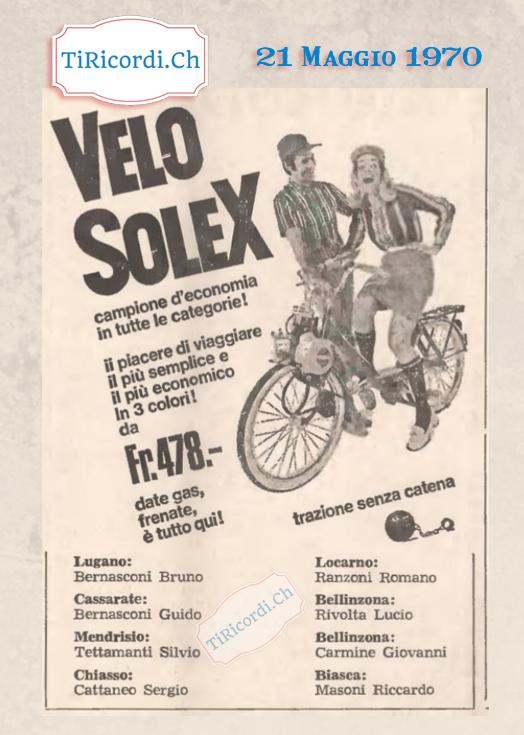 21 Maggio 1970: Chi si ricorda il Solex? Pubblicità di #50anni fa.