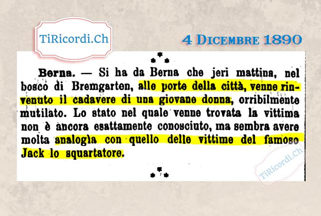 4 Dicembre 1890: Jack lo Squartatore in Svizzera? #130anni Terrore a Berna due anni dopo gli efferati crimini commessi a...