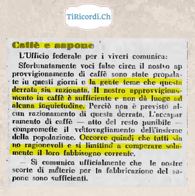 Il 27 agosto di #80anni fa, in Ticino paura per l'approvvigionamento di caffè e sapone durante la 2 GM.